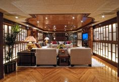 Pollux - Motor Yacht - - Discover your Glamorous Mediterranean Experience Motor Yacht, Luxury Yachts, Outdoor Dining, Art Deco, Cabin, Interior, Furniture, Home Decor, Al Fresco Dinner