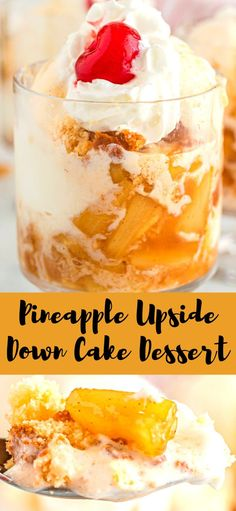 Pineapple Upside Down Cake Dessert you cant help but love this bad boy its got everything we want in an upside down cake in an easy no bake dessert! Pineapple Dessert Recipes, Best Dessert Recipes, Fruit Recipes, Yummy Recipes, Easy No Bake Desserts, Easy Desserts, Delicious Desserts, Pineapple Upside Down Cake, Yummy Cakes