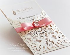 Lace Wedding invitation Card Template folds svg by EasyCutPrintPD