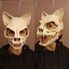 Katze Schädel Maske ohne Ohren Sz S vegan Cat skull mask without ears Sz S vegan