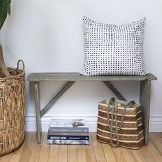 Simple antique bench in entryway - how to style and simple vignette