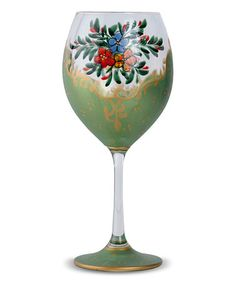 This Green Flower Breeze Hand-Painted Crystal Wine Glass is perfect! #zulilyfinds