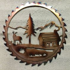 Saw Blade with Elk and Cabin by CAMetalArt on Etsy Plasma Cutting Art Metal Tree Wall Art, Scrap Metal Art, Metal Artwork, Metal Art Projects, Metal Crafts, Plasma Cutter Art, Plasma Cutting, Junk Art, Welding Art