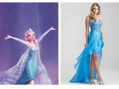 "Elsa Inspired Dress... I am trying to find a dress that is the most accurate to her dress... I am talking cape, flowing long dress with split for leg, and different sized ""ice"" squares in the chest, long but thin sparkly sleeves that attach to your middle finger... Plus some heels would me nice ;)"