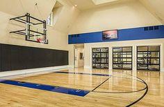 Indoor basketball court and home gym Home Basketball Court, Basketball Room, Sports Court, Basketball Rules, Basketball Scoreboard, Basketball Uniforms, Basketball Academy, Basketball Legends, Backyard Basketball