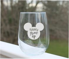Disney Wine Glasses, Fun Wine Glasses, Etched Wine Glasses, Personalized Wine Glasses, Disney Designs, Canning, Tableware, Handmade, Etsy Shop