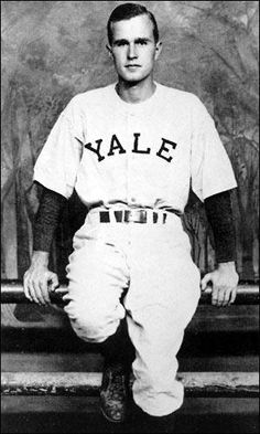 George H.W. Bush poses in his baseball uniform at Yale, 1947