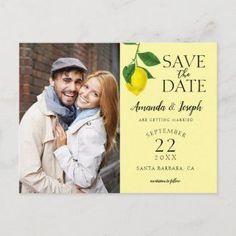 Photo Lemon Yellow Rustic Save the Date Announcement Postcard