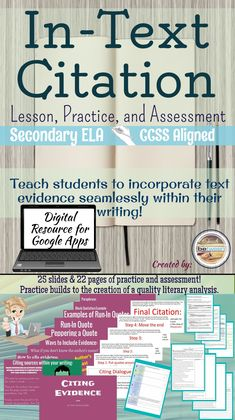 The lesson and Google Slides Presentation/PowerPoint will teach your students: -How to create an in-text citation with and without an author's name. -How to lead into or out of a quote with the student's own words. -How to pepper a quote, and so much more! Secondary ELA