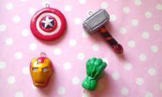 Avengers Charms in Polymer Clay (4: Captain America, Thor, Iron Man and Hulk)