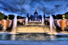 The National Palau of Montjuïc. The Magic Fountain of Montjuïc Magic Fountain, Local Attractions, Free Things To Do, Best Cities, Garden Landscaping, Stuff To Do, Waterfall, Mansions, Architecture