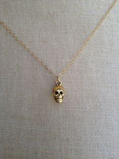 Gold Skull Necklace, Tiny Skull, Dainty Skull, Skull Charm, Skull Jewelry, Skeleton Necklace