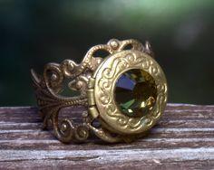 Locket Ring SALE. FUNtional. Autumn colors Unique earthy October. Adjustable size. Poison ring secret hiding place. Photo locket