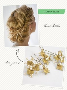 Gilt foliage hairpins add richness to any wedding day or special occasion look.  Hand-enamelled leaves are accented with freshwater pearls, petite Swarovksi rhinestone settings and champane crystal.  http://www.laurajayne.com