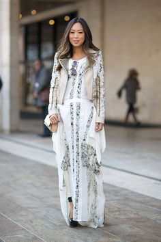 Gorgeous, but she must be freezing! |  Street Style Photos New York Fashion Week Fall 2014 - Harper's BAZAAR