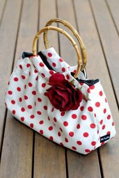 Adorable red white polka dot purse handbag; accessorize with polka dots