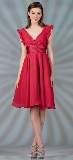 Knee length Chiffon Coral Dress V Neck A Line Wide Strap (6 Colors Available)