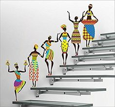 DeStudio 'Kokopelli Red Band' Wall Sticker (PVC Vinyl Film, 110 cm x 75 cm x Multicolour) Wall Painting Decor, Diy Wall Painting, Metal Wall Decor, Metal Wall Art, Simple Wall Paintings, Stairway Decorating, Afrique Art, African Art Paintings, Orange Wallpaper