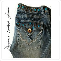 "DESIGNER ANAMA JEANS 28 X 32 DESIGNER Jeans ANAMA BLUE TURQUOISE AND BRASS DOT ACCENTS 2  BACK BEAD & BRASS ACCENTS W/ BUTTON STRAIGHT W/SLIGHT FLARE LEGS SIZE 28"" X 32"" BEAUTIFUL DETAIL AND FLATTERING ON ANAMA Designer Jeans Jeans Straight Leg"