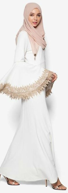 Embellished Mermaid Dress With Trim from Zalia in white