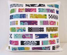 Modern Quilted Pillow Cover Echino Patchwork Tiles by fieldofroses