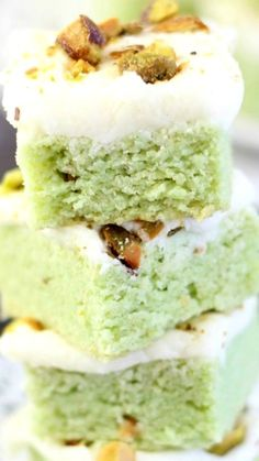 Pistachio Sugar Cookie Bars with Cream Cheese Frosting ~ A soft and chewy pistachio sugar cookie bar topped with cream cheese frosting!