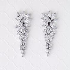 CZ Bridal Earrings Leaf Cluster Style