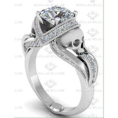 1.60ct White Diamond Skull Engagement Ring ❤ liked on Polyvore featuring jewelry, rings, skull jewellery, skull engagement ring, engagement rings, skull jewelry and white diamond ring