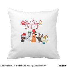Comical animal's 2-sided Christmas throw pillow