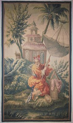 An 18th century Aubusson tapestry panel