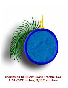 """Christmas Ball 4x4 Applique design that matches are Harvest Applique collection. Yours to use for free. One Design for 4""""x4"""" Hoop."""