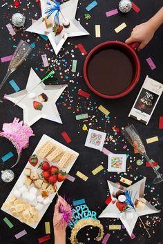 New Year's Eve Fondue Party Nye Party, Party Time, New Year's Eve Party Themes, Party Ideas, Theme Ideas, Eve Music, Fondue Party, Celebrate Good Times, New Years Decorations