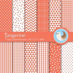 Orange Digital Paper Set  Tangerine Digital Paper  by CinnamonDove