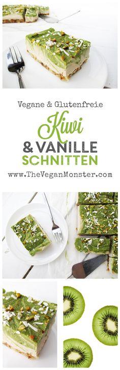 Kein Backen Rohköstliche Vegane Glutenfreie Kiwi Vanille Schnitten Kuchen Rezept - Entdeckt von Vegalife Rocks: www.vegaliferocks.de ✨ I Fleischlos glücklich, fit & Gesund✨ I Follow me for more vegan inspiration @vegaliferocks