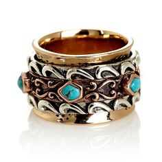 Studio Barse Tri-color Turquoise Spinner Ring