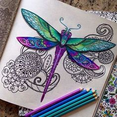 Dragonfly meets Zentangle - love this♥≻★≺♥ Davlin Publishing Butterfly Mandala, Dragonfly Art, Dragonfly Drawing, Doodles Zentangles, Zentangle Patterns, Coloring Books, Coloring Pages, Colouring, Adult Coloring