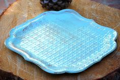 rustic large platter in aqua blue