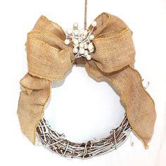 Burlap bows burlap pew wreaths or pew decorations rustic Christmas wedding decor…