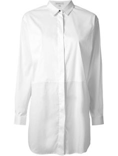 'White cotton blend classic long shirt from Costume National.'