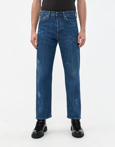 Buy the Acne Studios Blå Knost 1996 Blue Crease Denim at Need Supply Co. Denim Jeans, Mom Jeans, Need Supply Co, Acne Studios, Shorts, Model, Pants, Blue, Fashion