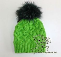 green cable knit hat with dark green raccoon fur pom pom Knitting Basics, Knitting Stitches, Knitting Patterns, Crochet Patterns, Knitting Tutorials, Hat Patterns, Stitch Patterns, Baby Hats Knitting, Free Knitting