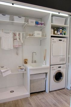 30 Fabulous Laundry Room Decor Ideas You Must Try Small laundry room ideas Laundry room decor Laundry room storage Laundry room shelves Small laundry room makeover Laundry closet ideas And Dryer Store Toilet Saving Small Laundry Rooms, Laundry Closet, Laundry Room Organization, Laundry Room Design, Laundry In Bathroom, Organization Ideas, Laundry Area, Storage Ideas, Compact Laundry