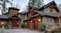 4 Bedroom Rustic Retreat Plan Photo Gallery, Luxury, Mountain, Premium Collection, Craftsman House Plans Home Designs Style At Home, Cabin Homes, Log Homes, Cedar Homes, Exterior House Colors, Exterior Design, Rustic Exterior, Exterior Siding, Exterior Paint