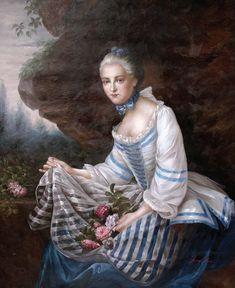 1757 Louise Elisabeth de Maillé Karman, comtesse de Sorans after François Hubert Drouais (Versailles) cropped | Grand Ladies | gogm