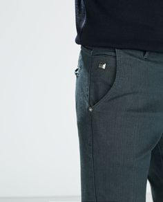 Image 5 of CHINO-STYLE COATED JEANS from Zara