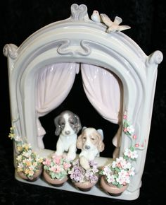 """""""Puppies in the Window"""" figurine by Lladró (Valencia, Spain)"""