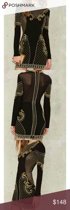 Nasty Gal Embellished Dress Dress comes in black and features a high crew neckline, mini, bodycon silhouette, semi-sheer mesh panels at front and back, and elaborate soutache and bead embellishment throughout. By Nasty Gal Collection.    PRODUCT DETAILS  *Gold swirl embroidery throughout   *Gold bead and pearl embellishment   *Mesh chest   *Gold sipper enclosure at back   *Fitted   *Lined Nasty Gal Dresses