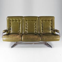 Anonymous; Leather and Chromed Metal Sofa, 1960s.