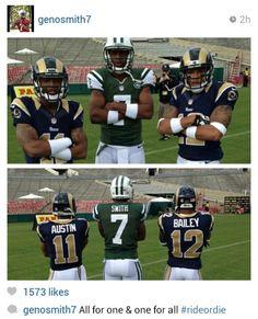 Tayvon Austin, Geno Smith & Steadman Bailey #wvu football