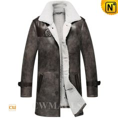 """CWMALLS® Custom Distressed Sheepskin Trench Coat CW836066 CWMALLS offer custom made for this trench style sheepskin coat, crafted from imported natural sheepskin with fur shearling material with distressed, vintage sheepskin long coat designed in 35"""" long, exposed shearling collar, leather epaulet, sleeve tabs.  www.cwmalls.com PayPal Available (Price: $1978.89) Email:sales@cwmalls.com"""